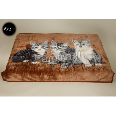 Koc Elway 160x210 - szare koty na brązie 674-2