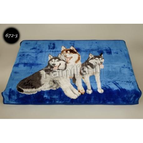 Koc Elway 160x210 - 3 psy haskie na niebieskim 672-3