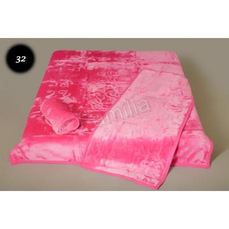Komplet narzut na łóżko i dwa fotele Elway - różowy tłoczony 32