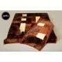 Komplet narzut na łóżko i dwa fotele Elway - krata brąz 518-1