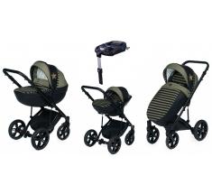 Wózek Dada Paradiso STARS KHAKI - 4w1 (gondola + spacerówka + fotelik samochodowy + baza)