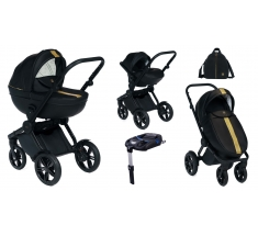 Wózek Dada Paradiso LUXOR BLACK - 4w1 (gondola + spacerówka + fotelik samochodowy + baza)