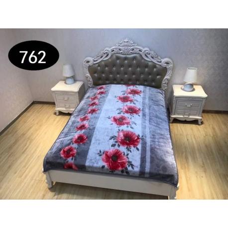 Koc Elway 160x210 - kwiaty na szarym tle 762