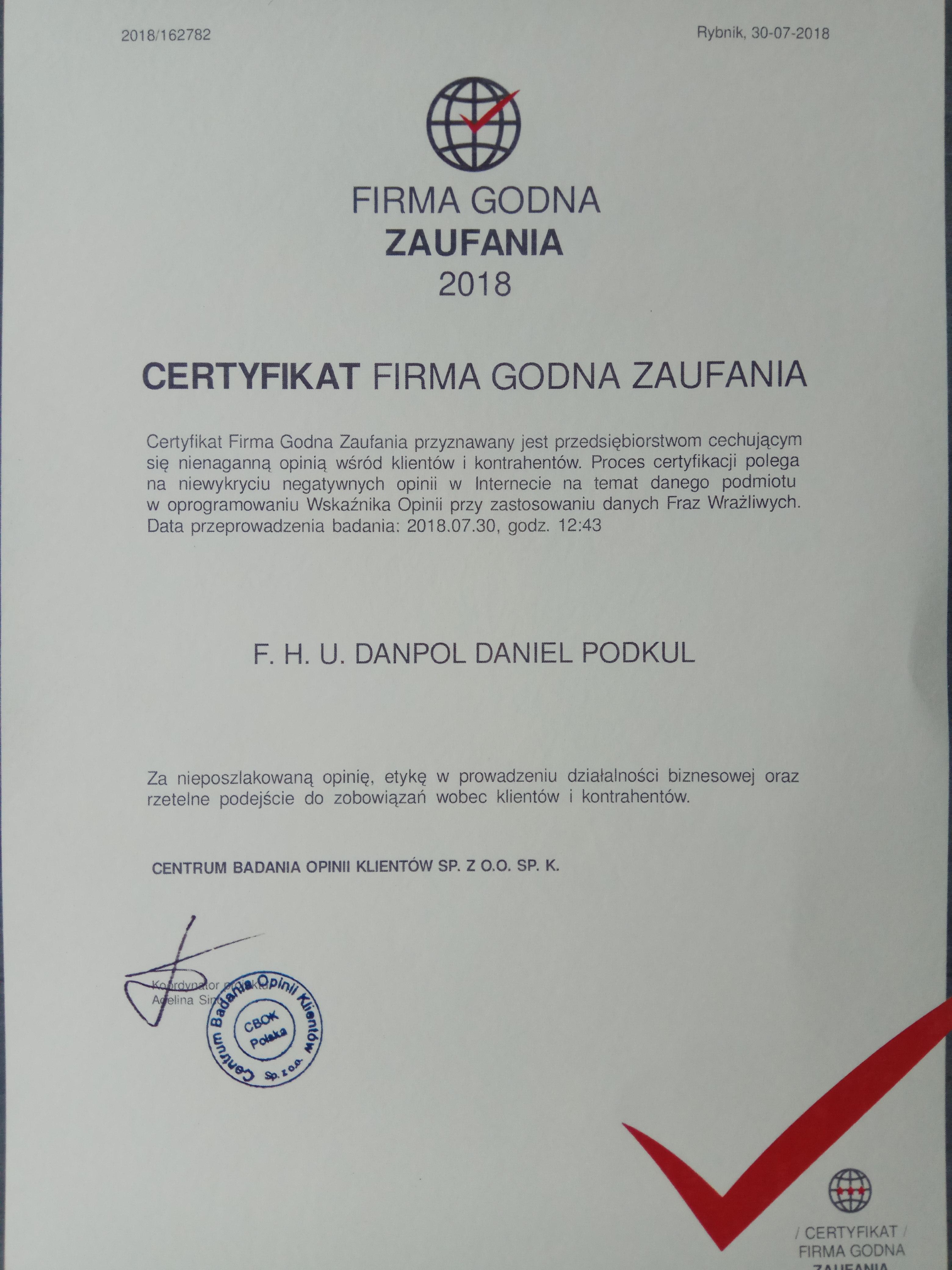 Firma Godna Zaufania - CENTRUMHANDLOWE.NET