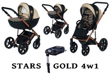 Wózek DADA PARADISO - STARS GOLD 4w1